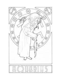 Zodiac Aquarius by ElineK @ DeviantArt --> If you're in the market for the best adult coloring books and supplies including watercolors, colored pencils, gel pens and drawing markers, go to our website at http://ColoringToolkit.com. Color... Relax... Chill.