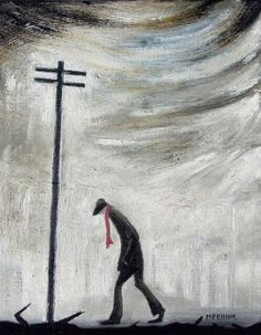 LS Lowry influenced art by M P Elliott Nothern Artist oil painting entitled 'A man and a thousand thoughts...' influenced by L S Lowry and Theodore Major and the landscapes of Manchester, Lancashire and other Northern towns.