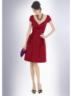 Sheath V-neck Short Sleeve Knee-Length Taffeta Wedding Bridesmaid Dress