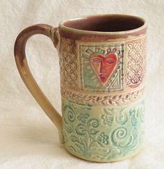 ceramic heart mug 16oz stoneware 16A033 by desertNOVA on Etsy, $20.00