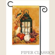 "Autumn Lantern Garden Flag - BreezeArt® Premium Flags are made of our exclusive SolarSilk® 600 denier polyester for greater durability, yet they have a softer, silkier feel for better drape and movement. Fade and mildew resistant. Machine Washable, low iron. Size: 12.5"" x 18"". #country #autumn #harvest #pumpkin #flag"