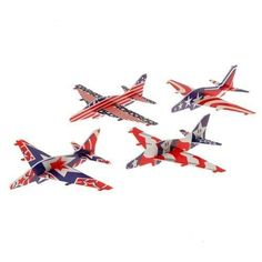 (24) PATRIOTIC USA Foam Gliders  Red White & Blue Airplane Gliders  Fun Birthday Party Favors  Patriotic 4th of July  Stars & Stripes  Prize Fairs Carnivals Summer