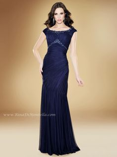 Mother of The Bride dress by Rina Di Montella, style 1730  http://RinaDiMontella.com  ENGLISH NET GOWN W/SHAWL Colors: NAVY, AMETHYST, BERRY, CHOCOLATE, IVORY, MAGENTA, PURPLE, AND ROYAL Size: 4-28