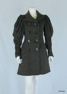 Antique Victorian Heavy Wool Coat Jacket Leg Omutton Sleeves