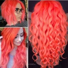 We are loving all the beautiful neon peach hair colors we are seeing in our feed! Shown (left) and (right) Peach Hair Colors, Coral Hair, Neon Hair, Bright Hair Colors, Purple Hair, Pretty Hair Color, Ombre Hair Color, Love Hair, Gorgeous Hair