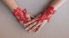 NOEL Gifts.... love red french lace gloves by WEDDINGHome on Etsy, $23.00