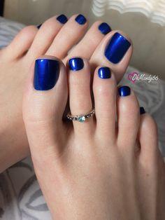 Blueberries are in season! 💙 Polish: Aruba Blue by Blue Toe Nails, Pretty Toe Nails, Sexy Nails, Sexy Toes, Pretty Toes, Foot Pedicure, Pedicure Colors, Pedicure Nails, Toenails