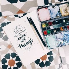 "48 Likes, 2 Comments - Tan Siaw Chia @Xiaojia (@tan1889_xiaojia) on Instagram: ""Lettering practice! ❤✒️ We adore you as the one who is over all things - 1 Chronicles 29:11…"""