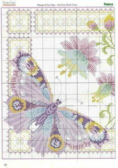 Butterfly and fuschia cross stitch 1