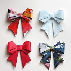 Origami Bows | 35 New Uses For Old Newspapers And Magazines
