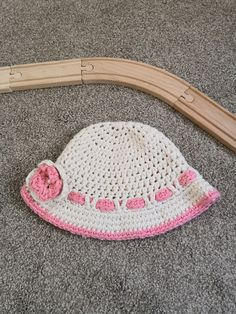Toddler Hat Pink and White