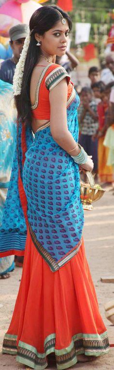 Bindu Madhavi in a half-sari.