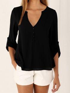 Owlprincess New Autumn Fashion Women deep v neck button long sleeve ladies tops chiffon shirts solid elegant Top casual blouse