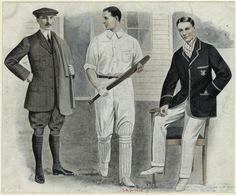 1900-1909 Men in sportswear, one holding a cricket bat. (1908)