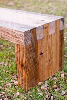 I really like this rough-hewn look. My Doug Fir pieces might be big enough for a bench like this!