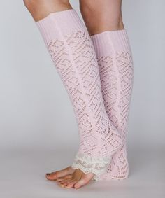 Pink Lace Leg Warmers - Women