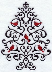 Machine Embroidery Design Wrought iron Christmas tree cardinals