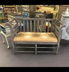 Lisa Harrison says: I love gravel road! Has white wax over it here. Also used it to stencil on the burlap cushion. #Paintiques #DixieBellePaint #chalkpaint #paintedfurniture