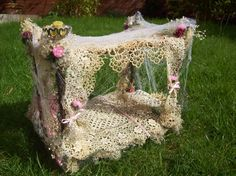 handmade fairy woodland beds made to order ( the featured beds are not for sale but can be ordered). £50.00, via Etsy. Enchanted Garden, Fairy Garden Houses, Gnome Garden, Fairy Gardening, Fairy Crafts, Garden Furniture Sale, Fairy Furniture, Outdoor Furniture, Outdoor Decor