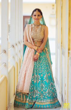Bride in Light Blue Lehenga with Gota Work and Satlada