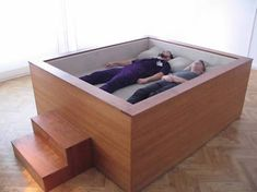 The sonic bed is a king-size bed with 12-channel surround sound. It may look like a wooden tank from the outside, but inside its got enough speakers to dwarf any home theater set up. Created by Kaffe Matthews as a museum exhibit (no plans for retail as of yet), the bed requires 220 volts of electricity and covers every inch of your body in sound.