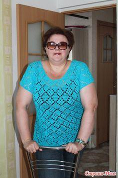 Летний пуловер крючком - ВЯЗАНАЯ МОДА+ ДЛЯ НЕМОДЕЛЬНЫХ ДАМ - Страна Мам Easy Crochet, Crochet Top, Crochet Vests, Simple Style, Pullover, Mom, Lady, Animal, Country