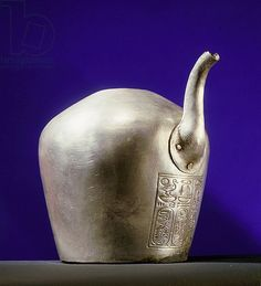 Silver spouted vessel, nemset, used for pouring libations of water, Tomb of Psusennes I