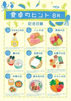 [JP] 日本の記念日 X 食品カレンダー(ポポ/シャポー)8月 Aug 3: Day of Honey (はちみつの日)/ Aug 6: Day of Ham (ハムの日)/ Aug 8: Day of Fruits/ Aug 11: Day of Noodles (麺の日)/ Aug 12: Day of Tofu(豆腐の日)/ Aug 15: Day of Snacks & Chinese food/ Aug 29: Day of Yakiniku (焼肉,やきにく)/ Aug 31: Day of Vegetables (野菜の日)