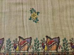 A pure silk Saree border with Madhubani art Saree Painting Designs, Fabric Paint Designs, Hand Painted Sarees, Hand Painted Fabric, Madhubani Art, Madhubani Painting, Kalamkari Painting, Fabric Painting, Fabric Art