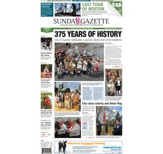 The front page of the Taunton Daily Gazette for Sunday, Oct. 19, 2014.