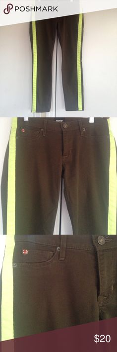 Hudson Olive & neon jeans Jeans with neon green yellow stripes on the sides, ankle cropped. Good condition Hudson Jeans Jeans Ankle & Cropped