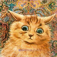 PRETTY LOUIS WAIN SCARED SAD PRETTY GINGER CAT KITTEN DESIGN WOODEN COASTER MAT
