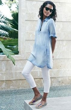 Jean dress with white skinny jeans
