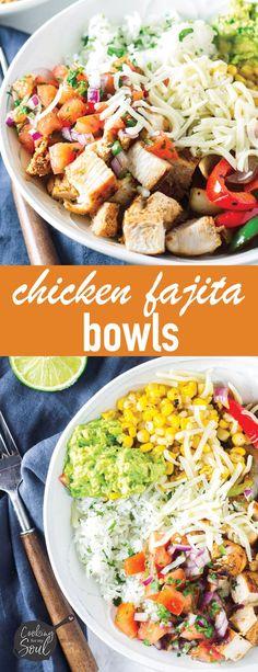 Chicken Fajita Rice Bowl Recipe, Chicken Fajita Rezept, Fajita Bowls, Chicken Rice Bowls, Burrito Bowls, Healthy Chicken Fajitas, Chicken Recipes, Carne Asada, Dinner Bowls