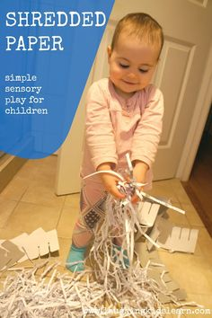 Shredded paper makes a great sensory experience for toddlers. Simple idea to keep it mind -- let baby explore everything! Baby Sensory, Sensory Activities, Sensory Play, Infant Activities, Preschool Activities, Sensory Table, Toddler Play, Baby Play, Toddler Preschool