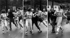 When Boston Marathon race officials realized Kathrine Switzer was running the marathon in 1967 they reacted angrily and tried to remove her from the race. She ran past them and became the first woman to run the Boston Marathon. So inspiring! Ali Michael, Boston Marathon, Marathon Today, Marathon Watch, City Marathon, Weird Facts, Fun Facts, Random Facts, Photo Choc
