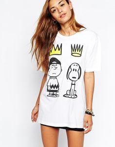 Criminal Damage Oversized Boyfriend T-Shirt With Snoopy Crown Print