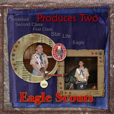 two nephews receiving their Eagle award. Another page for my inlaws wedding album Kids Scrapbook, Scrapbook Templates, Scrapbooking Layouts, Scrapbook Pages, Cub Scouts, Girl Scouts, Eagle Scout Ceremony, Eagle Project, Scout Camping
