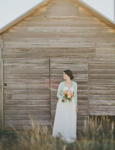 love this rustic bride in her mint cardigan