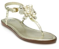 Gold Flat Sandals | Kate Spade Heidi Flat Sandals in Gold - Lyst