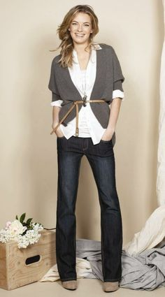 Super cute! belted cardi with layered shirts.