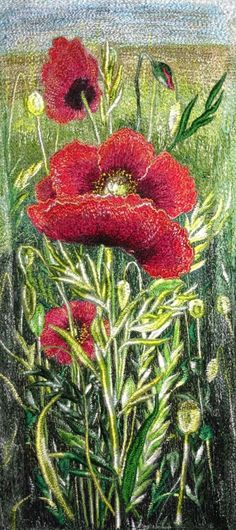 Thread paintings Available Free Motion Embroidery, Free Machine Embroidery, Crewel Embroidery, Thread Art, Thread Painting, Silk Painting, Flower Quilts, Landscape Quilts, Creative Embroidery