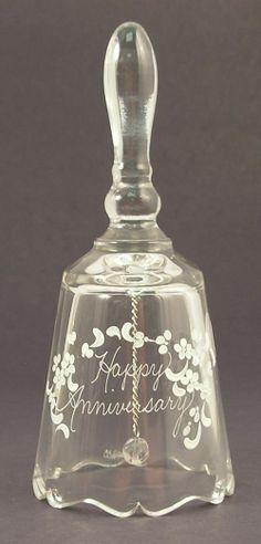 6 1/2'' Fenton Gift Shop Happy Anniversary Crystal Bell