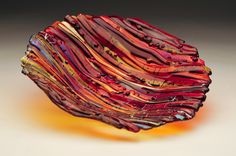 Wave Series Bowl- Reds & Oranges w/ Irid. Fused Glass Art I made in my studio! Beautiful on any table!