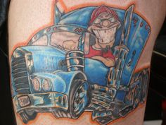 Truck Tattoo on thigh. Tattoo is about 8.5 by 11 inches  6 hours