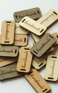 50 Product Tags  Handmade  0.6 x 1.25 Inches  laser cut and engraved by AllThisWood