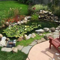 Creative and easy landscaping ideas to do at home with concrete, rocks, wood, etc. DIY pond landscaping ideas,Edging landscaping on budget Backyard Water Feature, Ponds Backyard, Pond Landscaping, Landscaping With Rocks, Water Pond, Water Garden, Diy Pond, Pond Fountains, Pond Water Features