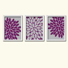 Grey Eggplant Purple Flower Burst Dahlia Bloom Artwork Set of 3 Trio Prints WALL Decor Abstract ART Picture Bedroom Bathroom