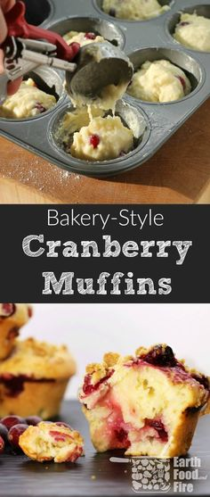 Bake these delicious bakery-style cranberry muffins at home! Fluffy, moist and full of fresh fruit, these muffins are a great snack or served for breakfast! #muffins #cranberries #breakfast  via @earthfoodandfire  #baking