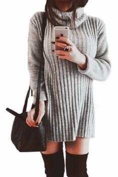 Light Grey Plain High Neck Sweet Pullover Sweater